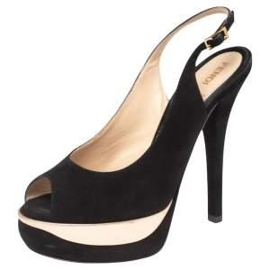 Fendi Black Suede Platform Slingback Sandals Size 38.5