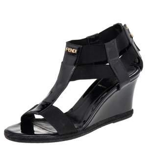 Fendi Black Patent Leather And Elastic T-Strap Espadrille Wedge Sandals Size 37
