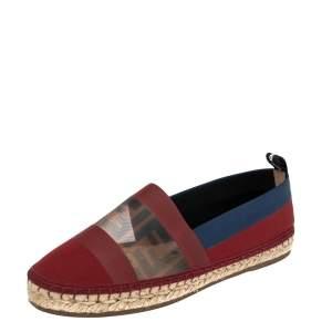 Fendi Multicolor Mesh, Leather And Canvas Espadrille Flats Size 37.5