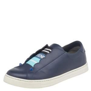 Fendi Blue Leather Rockoko Slip On Sneakers Size 37