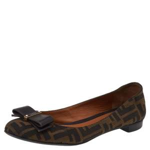 Fendi Brown FF Canvas And Leather Bow Ballet Flats Size 38