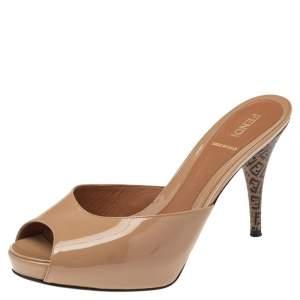 Fendi Beige Patent Leather Peep Toe Slide Sandals Size 38.5