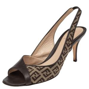 Fendi Brown Leather And FF Canvas Slingback Sandals Size 39