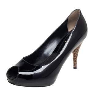 Fendi Black Patent Leather Zucca Print Heel Peep Toe Platform Pumps Size 37.5