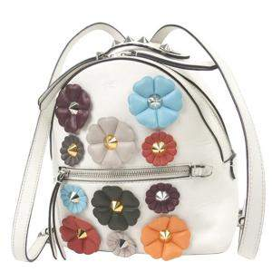 Fendi White Leather Mini By The Way Flowerland Backpack