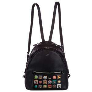 Fendi Black Leather Mini Pyramid Studded By The Way Backpack