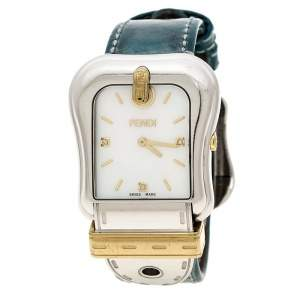 Fendi White Mother of Pearl Gold Plated Stainless Steel 3800G Women's Wristwatch 33 mm