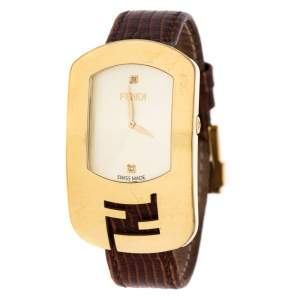 Fendi Yellow Gold Plated Steel Diamond Chameleon 30000M Women's Wristwatch 29 mm