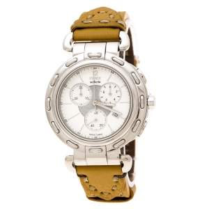 Fendi  Silver White Stainless Steel Selleria F89034H Women's Wristwatch 39 mm