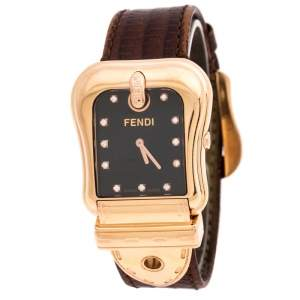 Fendi Black Rose Gold Plated Stainless Steel B.Fendi 3800G Women's Wristwatch 32MM