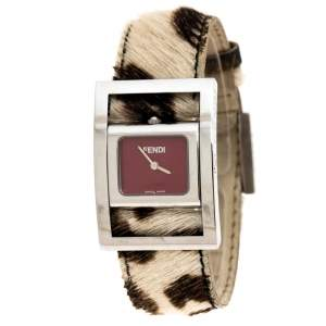 Fendi Red Stainless Steel Classic 5000 Women's Wristwatch 26MM