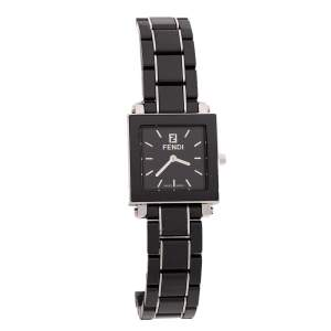 Fendi Black Ceramic Stainless Steel Quadro 6200L Women's Wristwatch 25 mm