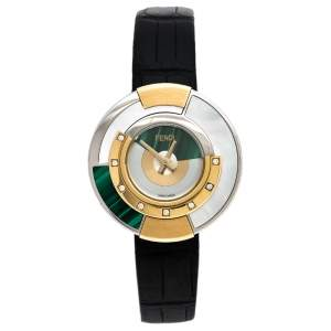 Fendi Mother Of Pearl Malachite Two Tone Stainless Steel Diamond Leather Policromia 51100S Women's Wristwatch 33 mm
