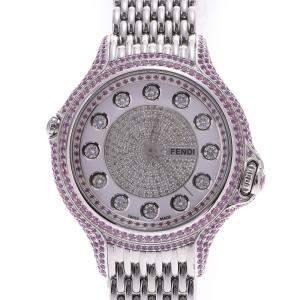 ساعة يد نسائية فندي وايت دايموندز كريزي كارات  كوارتز ألماس بيضاء  36 مم