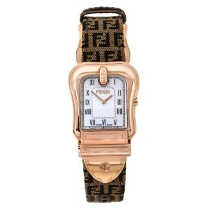 Fendi Mother of Pearl Gold Plated Stainless Steel and Canvas B.Fendi 3800G Women's Wristwatch 33 mm