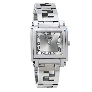 Fendi Silver Stainless Steel Quadro 6000G Women's Wristwatch 30 mm