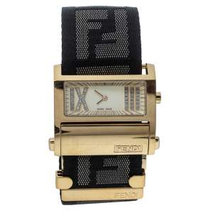 Fendi Cream Gold Tone Stainless Steel 1130L Zip Code Women Wristwatch 38MM