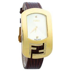 Fendi Champagne Gold Plated Steel Leather Diamond Chameleon 30000M Women's Wristwatch 29 mm