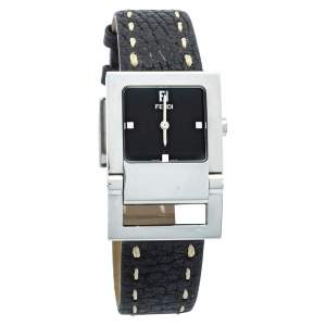 Fendi Black Stainless Steel & Leather 5200G Women's Wristwatch 27mm