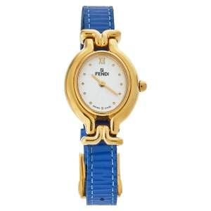 Fendi Silver Gold-Plated Stainless Steel Interchangeable Strap 640L Women's Wristwatch 24 mm