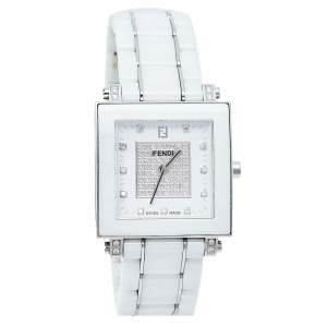 Fendi White Ceramic And Stainless Steel Diamonds Quadro 6200G Women's Wristwatch 30 mm