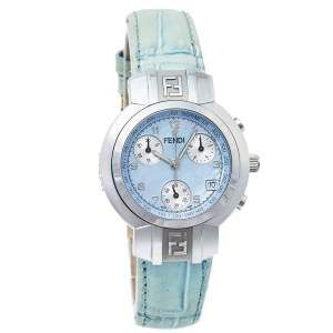 Fendi Mother Of Pearl Stainless Steel & Leather 4500L Women's Wristwatch 32 mm