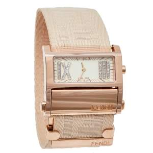 Fendi Cream Rose Gold Tone Stainless Steel Zip Code 1140L Women's Wristwatch 38 mm
