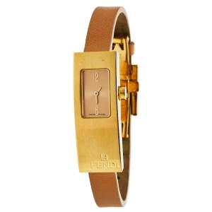 Fendi Champagne Gold Plated Stainless Steel Orologi 3300L Women's Wristwatch 13 mm