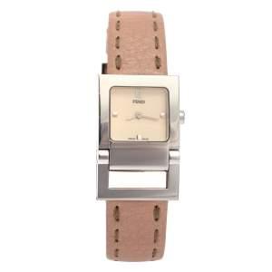Fendi Creme Stainless Steel Leather 5200L Quartz Women's Wristwatch 23MM