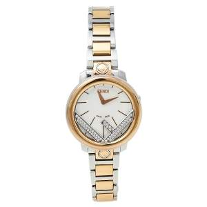 Fendi White Two-Tone Stainless Steel Diamonds Runaway 71000S Women's Wristwatch 28 mm