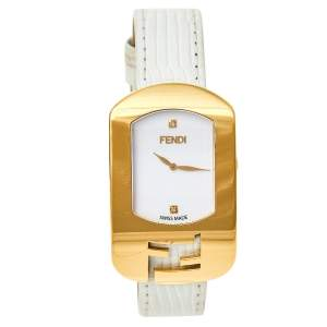 Fendi White Yellow Gold Plated Stainless Steel Leather Chameleon 30000M Women's Wristwatch 29 mm