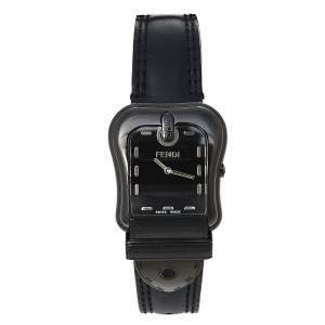 Fendi Black PVD Coated Stainless Steel Leather B.Fendi 3800G Women's Wristwatch 33 mm