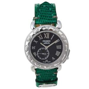 Fendi Black Stainless Steel Leather Selleria 8100M Women's Wristwatch 37 mm
