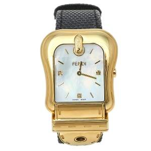 Fendi Mother of Pearl Gold Plated Stainless Steel B.Fendi 3800G Women's Wristwatch 33 mm