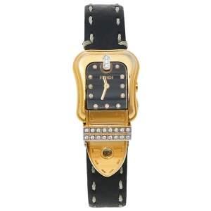 Fendi Black Gold Tone Stainless Steel Leather 3800L Women's Wristwatch 23 mm