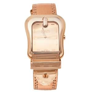 Fendi Rose Gold Plated Stainless Steel and Leather B.Fendi 3800G Women's Wristwatch 33 mm