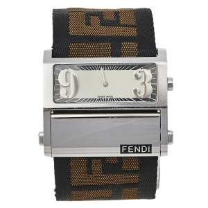 Fendi Cream Stainless Steel and Canvas Orologi 1120G Women's Wristwatch 45 mm