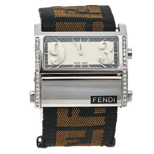 Fendi Cream Stainless Steel and Canvas Diamond Zip Code 1120L Women's Wristwatch 38 mm