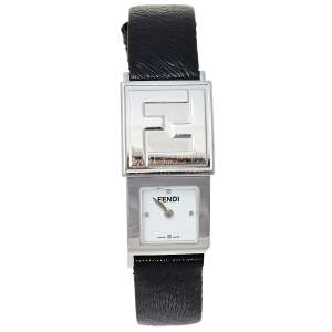 Fendi White/Black Stainless Steel Leather Secret 5500L Women's Wristwatch 20 mm x 37 mm