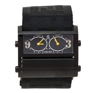 ساعة يد نسائية فندي 1170G زيب كود كانفاس ستانلس ستيل مطلي أيون سوداء 45.50 مم
