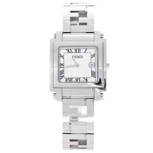 Fendi Silver White Stainless Steel Quadro 6000G Women's Wristwatch 30 mm