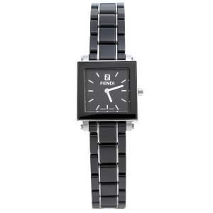 ساعة يد نسائية فندي كوادرو 6200L ستانلس ستيل وسيراميك سوداء 25 مم