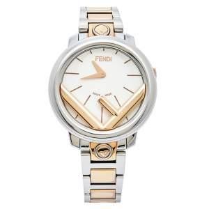 Fendi White Two Tone Stainless Steel Runaway FOW802A2YL Women's Wristwatch 28 mm