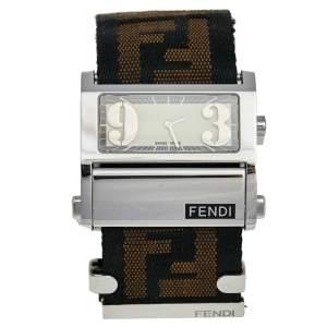 Fendi White Stainless Steel Canvas Zip Code 1120L Women's Wristwatch 38 mm