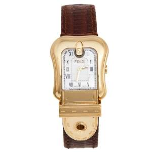 Fendi Mother of Pearl Gold Plated Stainless Leather Steel B.Fendi 3800L Women's Wristwatch 23 mm