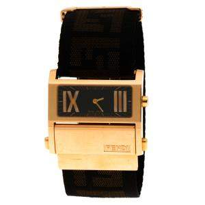 Fendi Black Rose Gold Tone Stainless Steel 1140L Zip Code Women Wristwatch 38MM