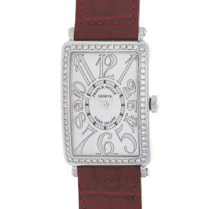 Franck Muller Silver Diamond Stainless Steel Long Island 1002 QZ REL D1 AC Women's Wristwatch 43 x 30.5 MM