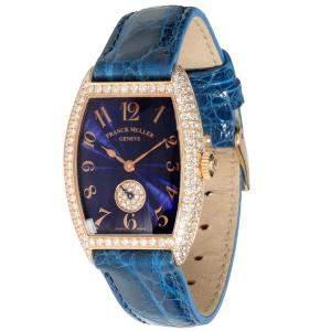 Franck Muller Blue Diamonds 18K Rose Gold Curvex 1750 S6 PMD Women's Wristwatch 24 MM