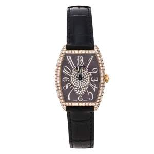 """ساعة يد نسائية فرانك مولر """"سينتري كورفيكس 7502 أس6 دي سي دي"""" ذهب وردي عيار 18 و ألماس مصفوف بني 29 مم"""