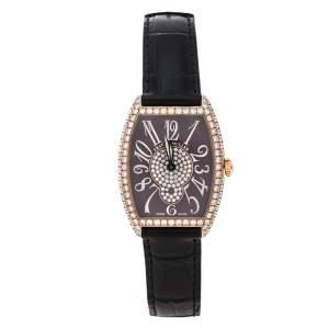 Franck Muller Brown Diamond Pave 18K Rose Gold Cintree Curvex 7502 S6 D CD Women'e Wristwatch 29 mm